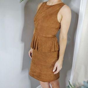 VAKKO split leather suede cognac peplum dress 0936